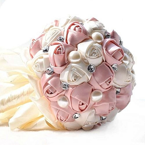 Handmade rose flower wedding bouquet rhinestone pearls for Housse voiture rose