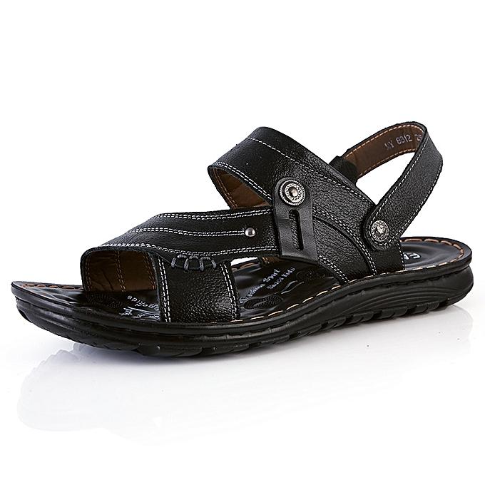 Fashion Pantoufles de randonnée pour hommes en cuir véritable respirant-Noir à prix pas cher
