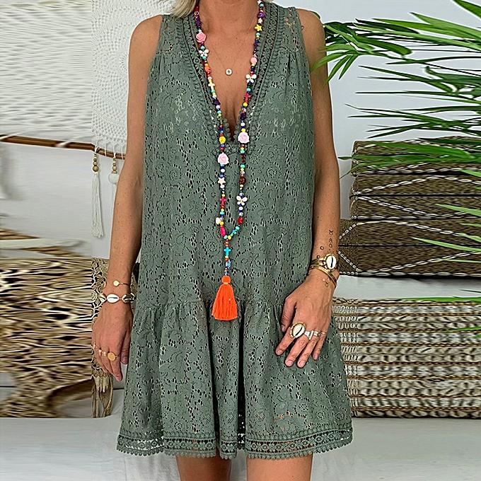 Fashion femmes Summer Maxi Bohe Floral Lace Loose Sleeveless Flare Mini Short Sundress à prix pas cher