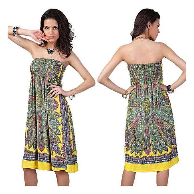 mode Bohemian femmes Robe Vintage Ropa femmes Print plage été Robe Vestidos YE XL à prix pas cher