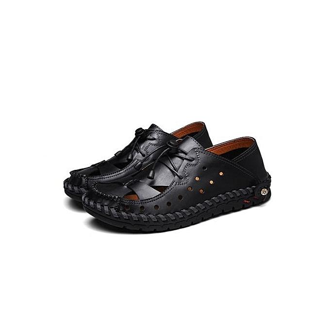 mode Pour des hommes chaussures respirant engrener Décontracté chaussures Genuine cuir Slip On Brand mode été chaussures de plein air Sports chaussures-noir à prix pas cher