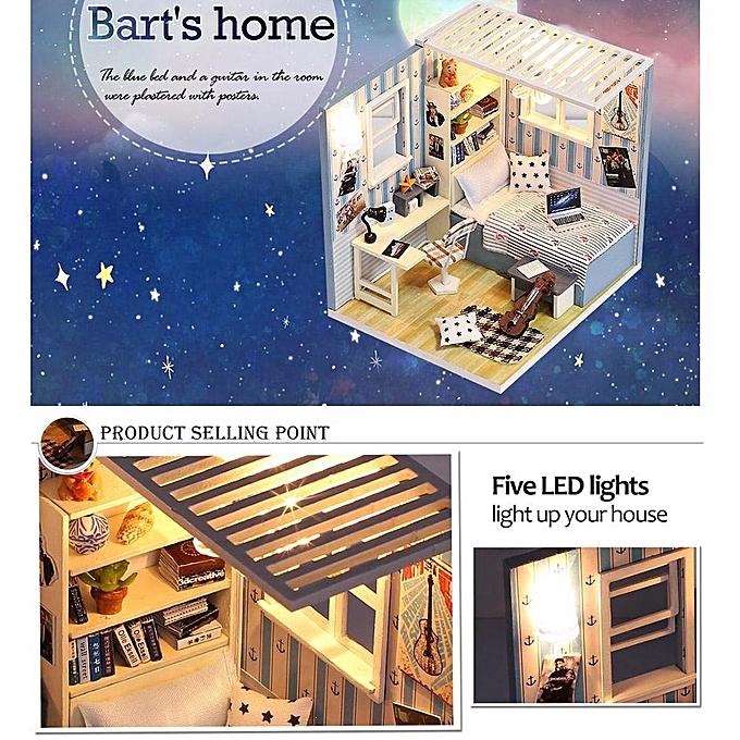 Autre Alink En Bois DIY Maison À La Main Assemblé Dollhouse Cottage Modèle Jouet Pour Enfants à prix pas cher