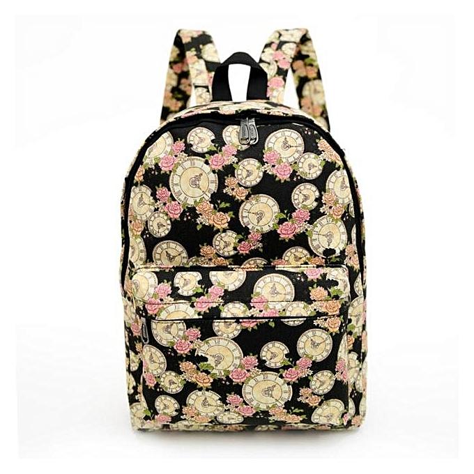 Fashion Tcetoctre femmes Backpack Canvas School Bag Printing School Backpacks Shoulder Bags BK-noir à prix pas cher
