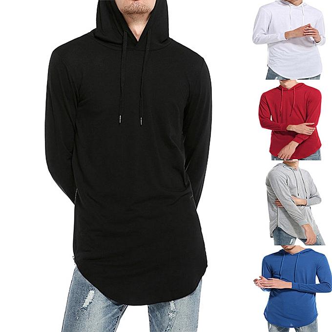 mode Hommes& 039;s Décontracté Ripped Solid manche longue T-shirt Top chemisier -noir à prix pas cher