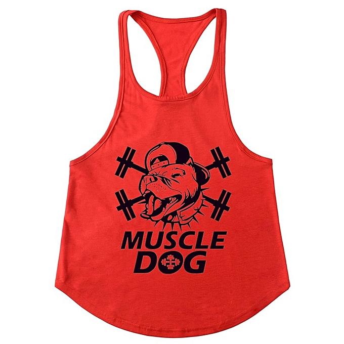 Other Hommes FonctionneHommest Exercise and Fitness Slim Shoulder Strap Vest-rouge and noir à prix pas cher