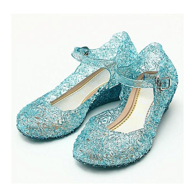 Fashion Elsa Princess Queen Fancy Dress Cosplay Party Kids Girl Crystal bleu Jelly chaussures-EU à prix pas cher    Jumia Maroc
