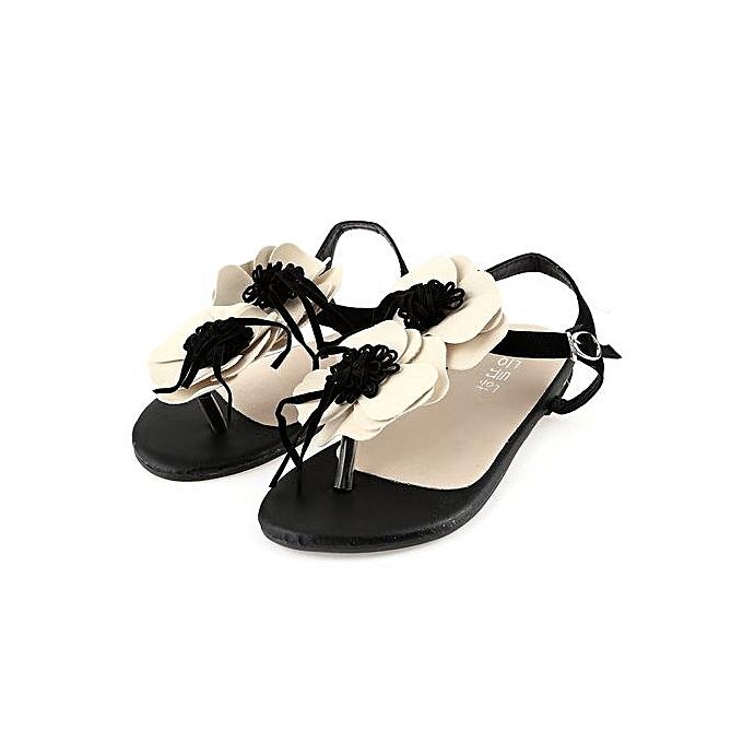 Fashion Casual Floral Embellishment Buckle Ladies Flip-flop Sandals à prix pas cher