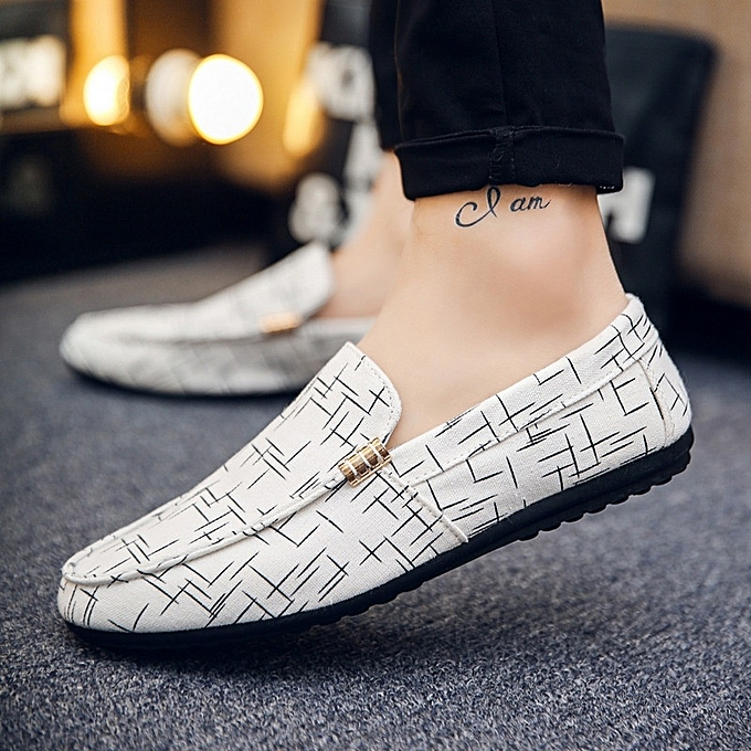 Other Spring Men's Casual baskets Lazy Breathable Bean chaussures -blanc à prix pas cher