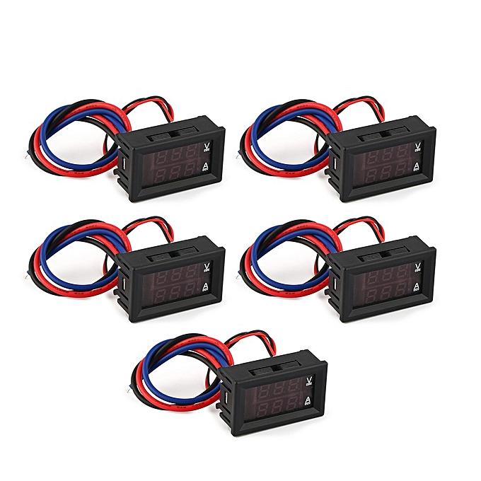 Allwin 5PCS 100V 10A Panneau d'affichage numérique LED Voltmètre voltmètre courant blck Carrouge à prix pas cher