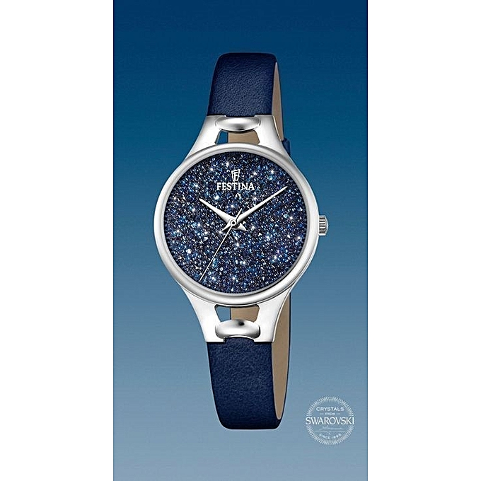 60c165d0b1399f Festina Montre Mademoiselle - Cuir Bleu - Cadran Swarovski à prix ...
