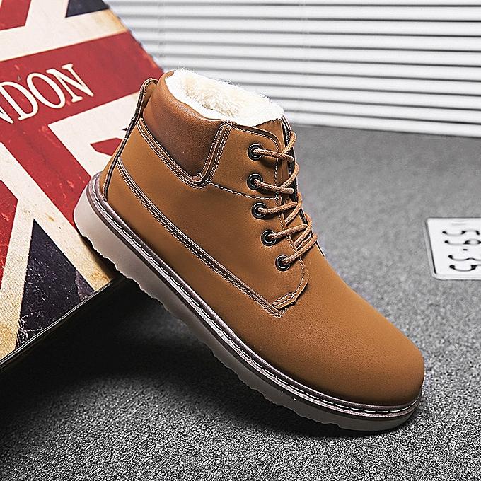 OEM New warm cotton chaussures plus velvet cotton bottes Korean hommes casual chaussures hommes Martin bottes tide hommes bottes-marron à prix pas cher
