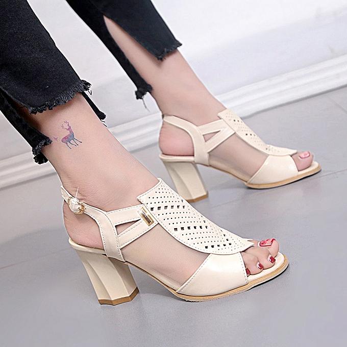 Fashion jiahsyc store Wohommes Ladies Hollow Out Ankle Buckle Square High Heel Sandals Roman chaussures à prix pas cher