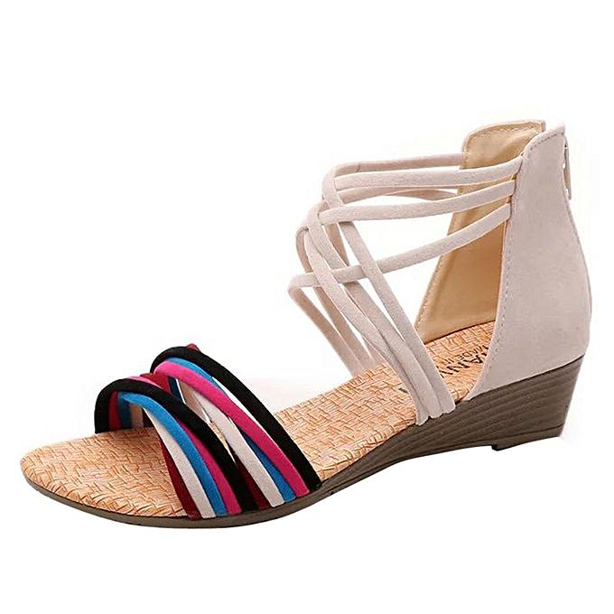 Fashion femmes Summer Bohemia Slippers Flip Flops Flat Sandals Beach Thong chaussures BG 36 à prix pas cher    Jumia Maroc