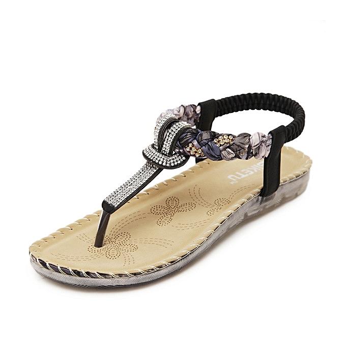Generic grand Taille femmes été Sandals Bling Beading Plaftorm Wedges chaussures femme Slid Slip-on Rohomme Flip Flops -noir à prix pas cher