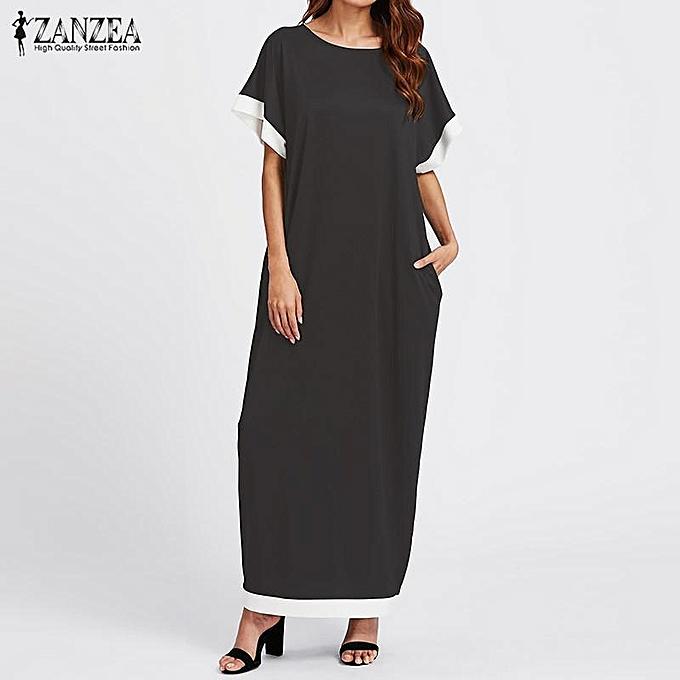 Zanzea ZANZEA femmes hommeches courtes Splice Décontracté Soirée Plus robe longue longue Maxi gris foncé à prix pas cher