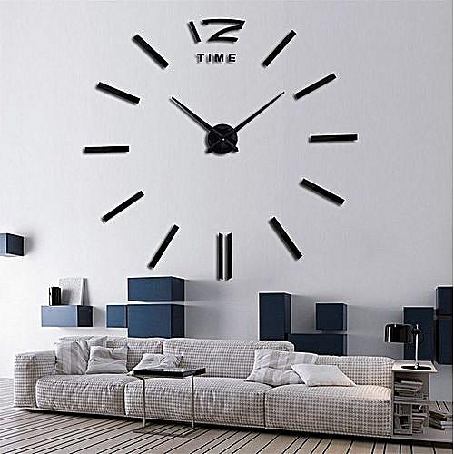 Commandez Diy Horloge Murale 3d Originale Design Noir à Prix Pas