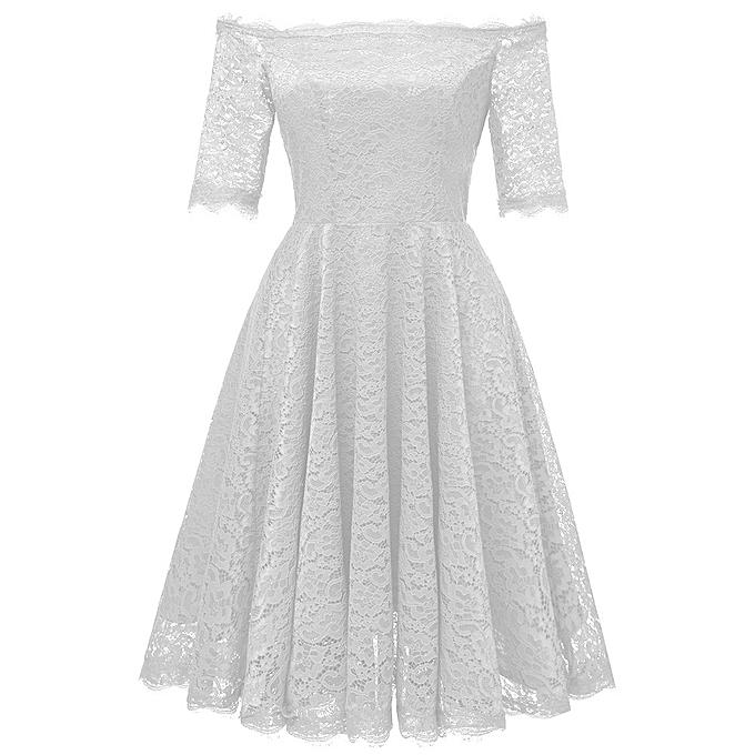 Fashion quanxinhshang femmes Vintage Off Shoulder Princess Floral Lace Cocktail Party Aline Swing Dress à prix pas cher