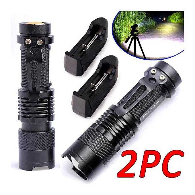Electronic 2x2000Lumen Rechargeable Tactical T6 LED Flashlight Torch+18650 Battery&Charger à prix pas cher