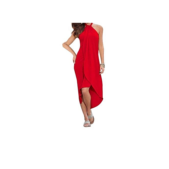 Generic HL Halter Sleeveless Pure Couleur plage Robe For Ladies (Cherry rouge)(S-XL) à prix pas cher
