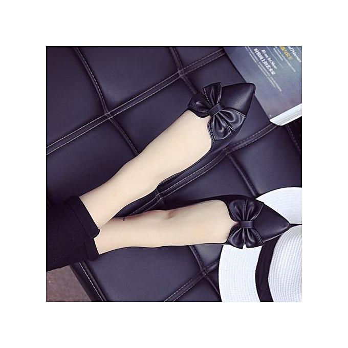 Fashion New Casual femmes Lady Pointed Toe Bowknot Flats Classic Slip On Pump Boat chaussures noir à prix pas cher    Jumia Maroc