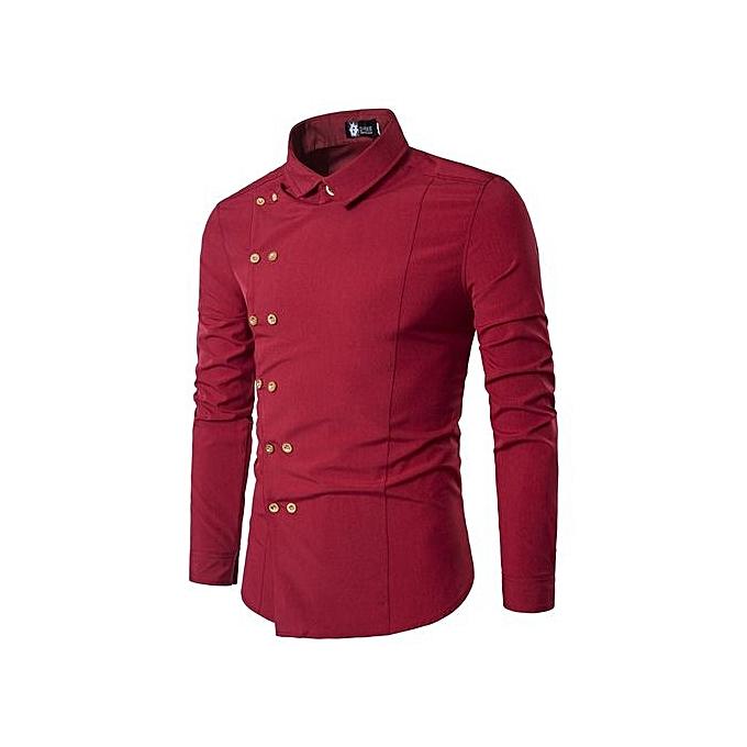 Fashion Men Shirt Double Breasted Dress Shirt Long Sleeve Slim Fit Camisa Masculina Casual Male Hawaiian Shirts-rouge à prix pas cher