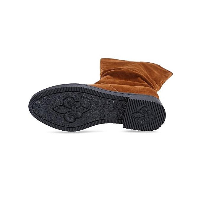 Générique Graceful     High Leg Boots Solid Color Flat Sole Shoes-BROWN à prix pas cher    Jumia Maroc a2be5a