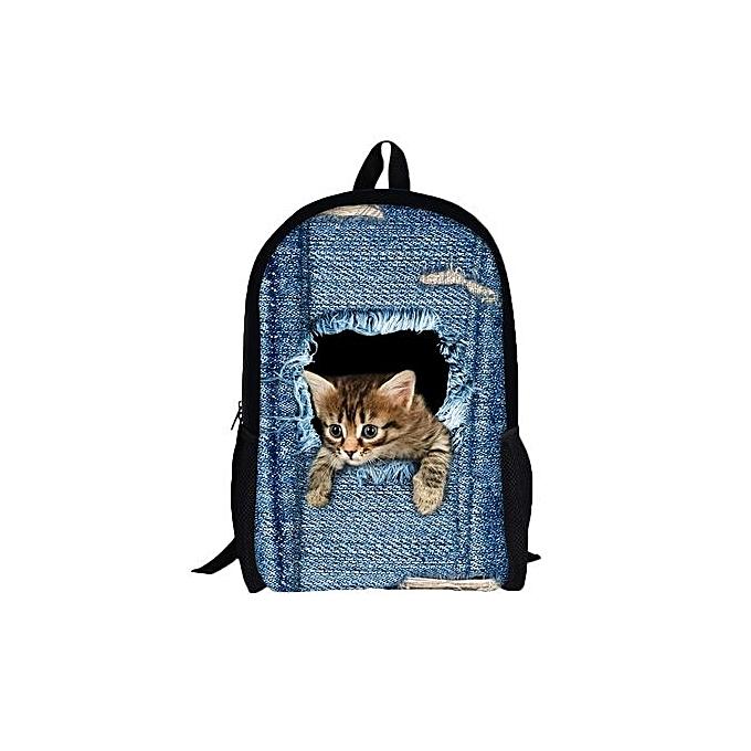 Generic 3D Animal Print Cat Dog Backpack Student School College Shoulder Bags A à prix pas cher