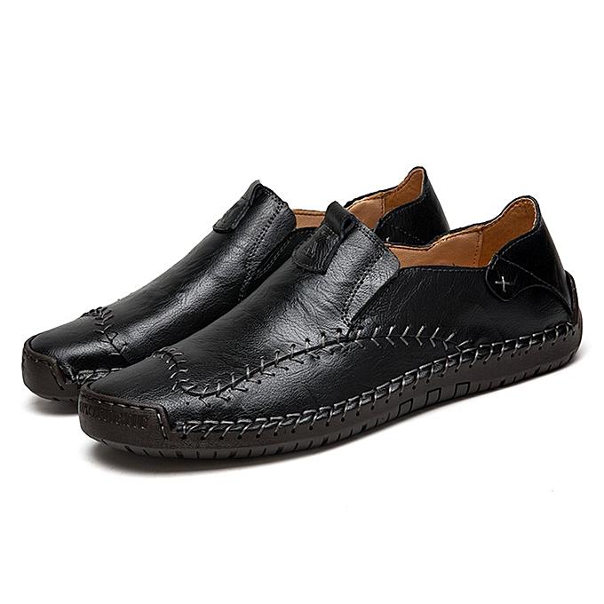Generic TB 7805 Spring And Autumn Leather Large Taille Men's chaussures Peas noir-noir à prix pas cher    Jumia Maroc
