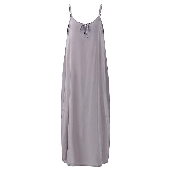 Fashion Robe longue à bretelles fines et à encolure en V pour femmes avec poches à prix pas cher