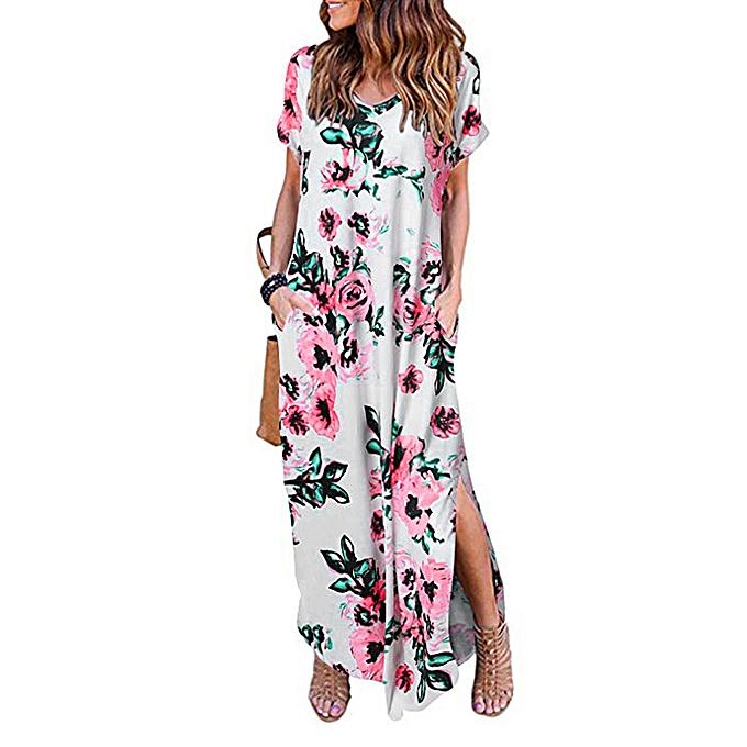 Fashion Wohommes Casual Loose Pocket Long Dress Short Sleeve Split Maxi Dresses à prix pas cher