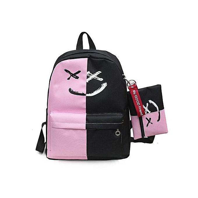 mode Singedan2Pcs femmes Girls Smile Shoulder Booksacs School voyage sac à dos+petit sac -rose à prix pas cher