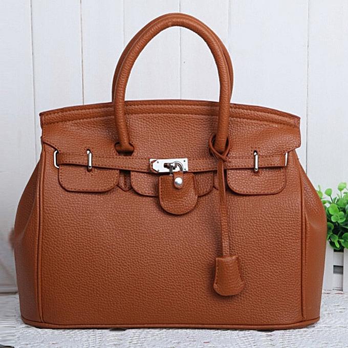 Generic Simple Larger Capacity Leather femmes Shoulder Bag Handbag noir Light marron à prix pas cher