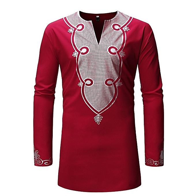 Other nouveau mode Africa Style manche longue Slim Fit Robe Shirts Print Shirt for Hommes-rouge à prix pas cher