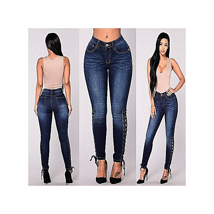 OEM Plus Taille Lady Jeans High-rise Stretch Skinny Pants Multiple Buckle Trousers-dark bleu à prix pas cher