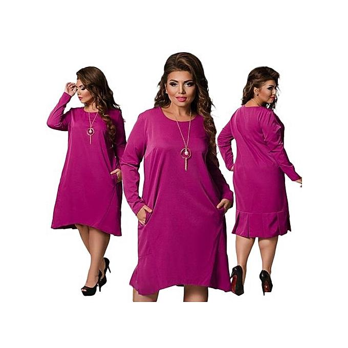 Fashion Ladies Autumn Dress Plus Taille Knee-Length Dress Large Taille 6XL Solid Big Tailles Casual Loose Dresses Plus Taille 5XL femmes Vestido-rouge à prix pas cher