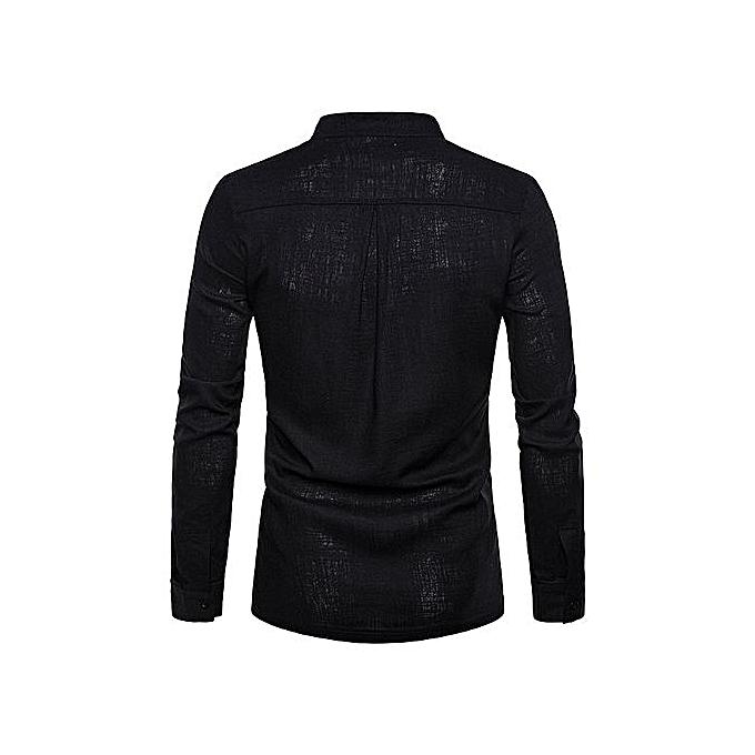 Generic nouveau arrivel High Quality Solid Couleur Hommes Shirt Linen Henry Collar grand Taille Solid Couleur manche longue Shirt Décontracté Slim Fit Male Shirts- noir à prix pas cher