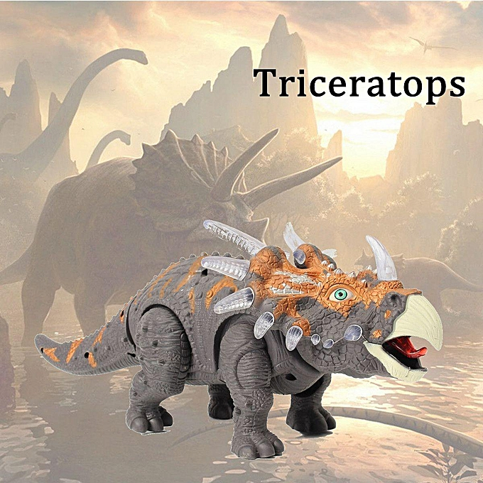 OEM Emulational Triceratops Play Set Light Up Sound Walking Dinosaur World Toy à prix pas cher