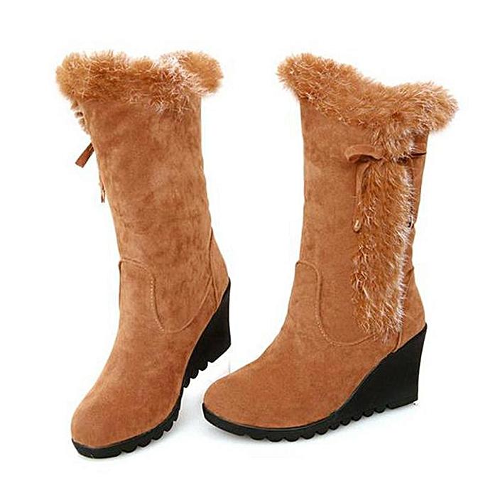 Fashion WoHommes  Thicken Thicken  Mid Calf Snow Boots Fur Pull ON Buckle Winter Warm Outdoor Shoes Khaki à prix pas cher  | Jumia Maroc 106ba9