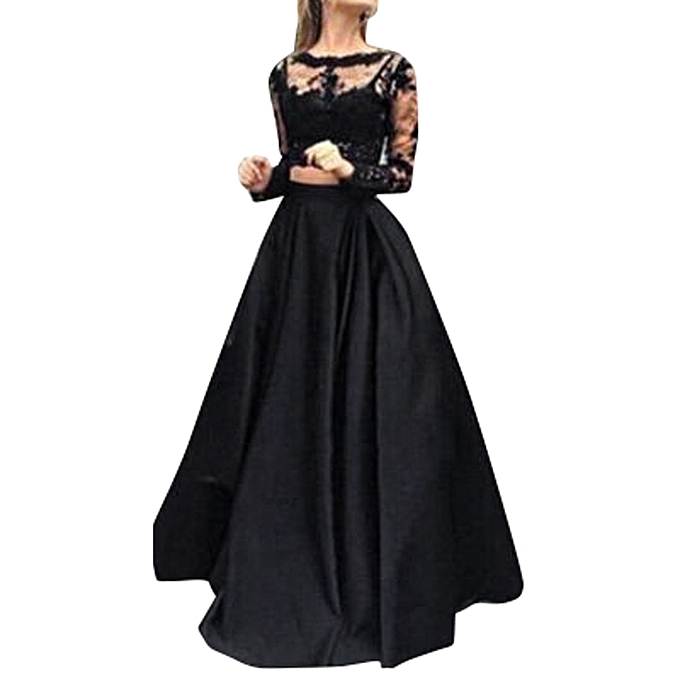 mode Tcetoctre Shop femmes Formal Prom Long Skirl Evening Party  Long Maxi  jupe Lace chemisier Set L à prix pas cher