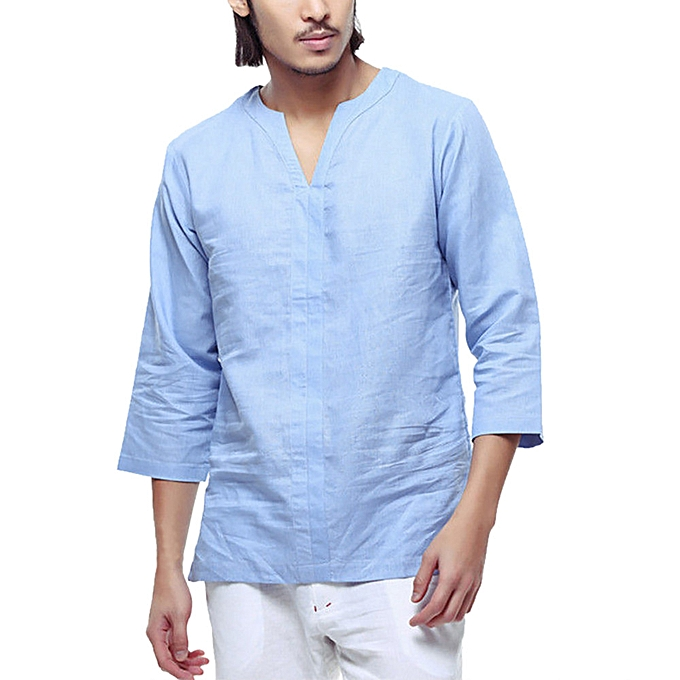 Fashion Men's Baggy Cotton Linen 3 4 Sleeve Retro V Neck T Shirts Tops Blouse  -bleu à prix pas cher