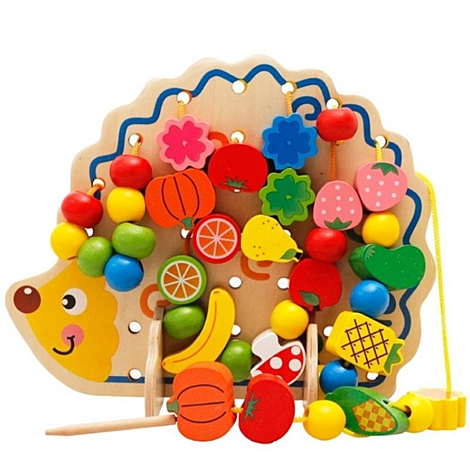 OEM New arrivel 82pcs Happy Cherry Wooden Fruits baby Vegetables kids lego kids Beads Toys Hedgehog Board Toddlers à prix pas cher