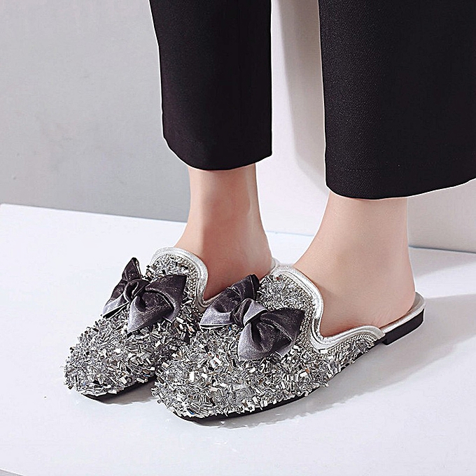 Fashion whiskyky store Slippers Wohommes Spring Low Heel Half Slippers Wohommes chaussures Lazy chaussures à prix pas cher