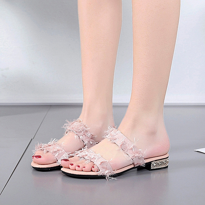 Fashion (Xiuxingzi) Wohommes Fashion Wild Sandals Wear Casual Round Head Solid Couleur Sandals à prix pas cher