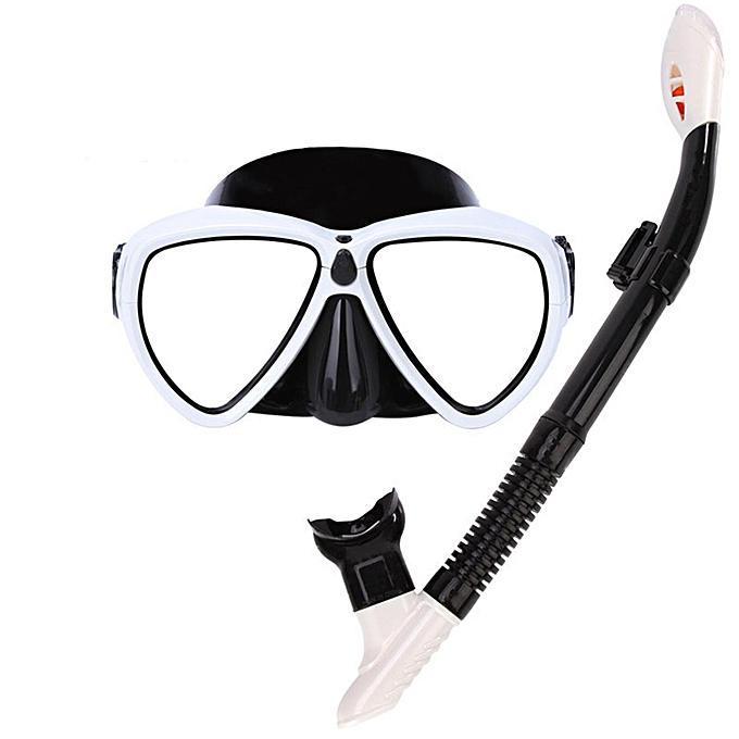 UNIVERSAL Swimming Snorkeling Diving Glasses Goggles Mask Scuba + Silicone Snorkel Set blanc à prix pas cher