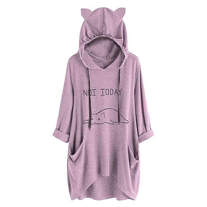 mode meibaol store femmes Décontracté Lying Cat Printed manche longue Cat Ear encapuchonné Sweatshirt Pocket hauts à prix pas cher