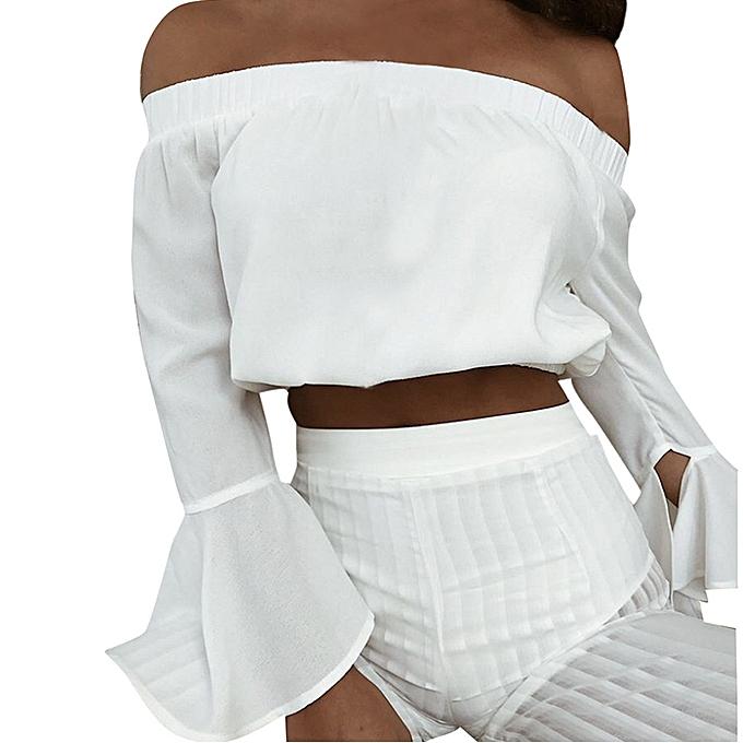 Generic Generic Summer femmes Casual Off The Shoulder Tank Long Flare Sleeve Blouse Crop Tops A1 à prix pas cher