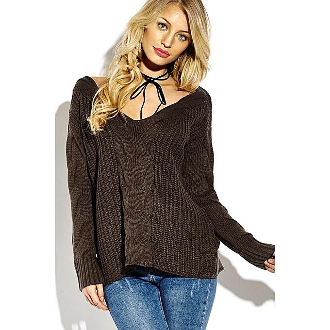 mode YOINS femmes nouveau High mode Clothing Décontracté manche longue V-neck Loose Fit Coffee Jumper Top à prix pas cher