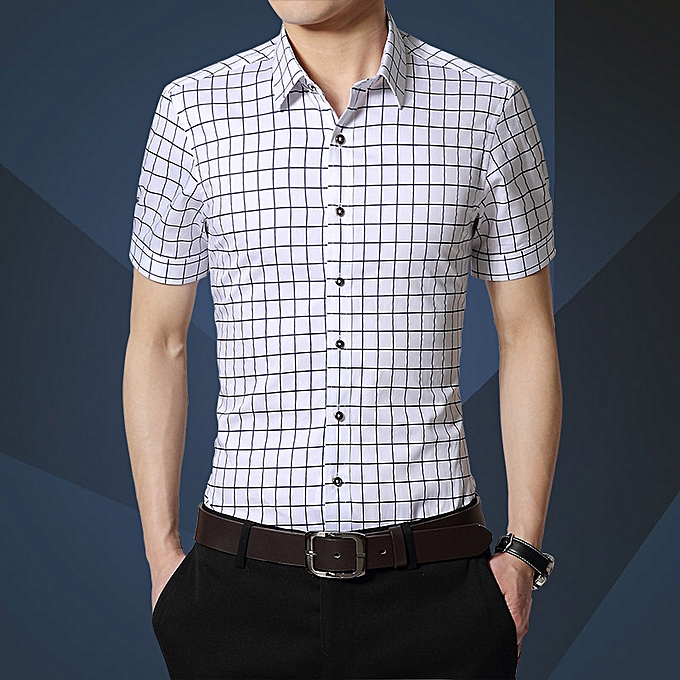 mode Hommes& 039;s courte-sleeved youth slim plaid male Affaires thin section Libre ironing shirt blanc à prix pas cher