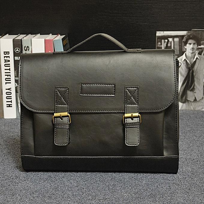Other Famous Brand Crazy Horse PU Leather Men Briefcase Men's Messenger Bag Male Laptop Bag Business Handbag Shoulder Bags Travel Bag(noir) à prix pas cher