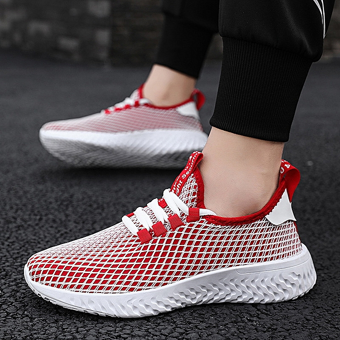 Fashion Men's breathable sports casual wild flying woven running chaussures-rouge à prix pas cher